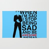 seinfeld Area & Throw Rugs featuring When I am sad, I stop being sad and be awesome instead by BomDesignz