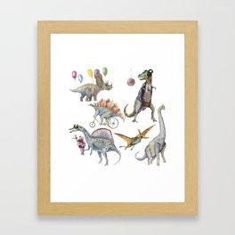 PARTY OF DINOSAURS Framed Art Print