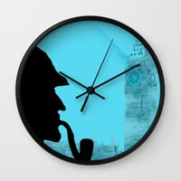 sherlock holmes Wall Clocks featuring Sherlock Holmes by ialbert