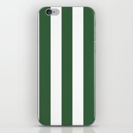 Hunter green - solid color - white vertical lines pattern iPhone Skin