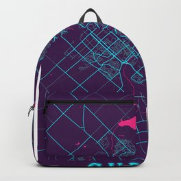 Guelph Neon City Map, Guelph Minimalist City Map Art Print Backpack