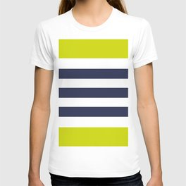 Modern Classy Navy Blue Lime Green STRIPES T-shirt