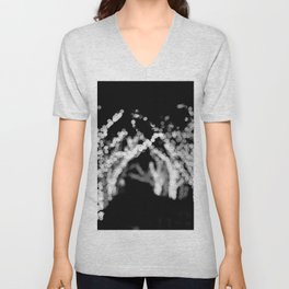 Twinkle Lights - Holiday Lights in Black and White Unisex V-Neck