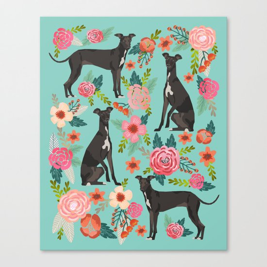 Italian Greyhound pet portraits by pet friendly dog with florals pattern Canvas Print