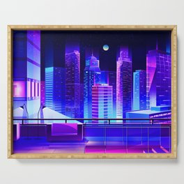 Synthwave Neon City #11 Serving Tray