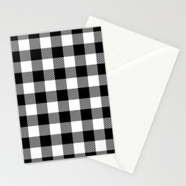 Buffalo Plaid - Black and White Stationery Cards