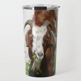 Whimsical Portrait of a Horned Goat Grazing Travel Mug