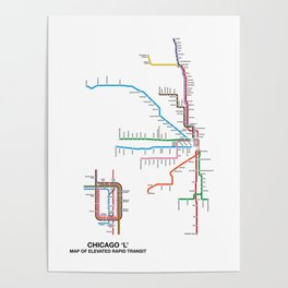 Chicago CTA Map, Chicago Wall Art, CTA Art Print Poster