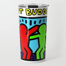 """Keith Haring inspired """"Best Buddies"""" Complementary Color R&G edition Travel Mug"""