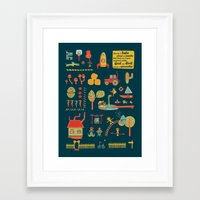 farm Framed Art Prints featuring farm by blablasah