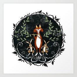 Fox & Rabbits with Lute Art Print