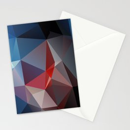 Blues and Reds Abstract Pyramid Art Stationery Cards