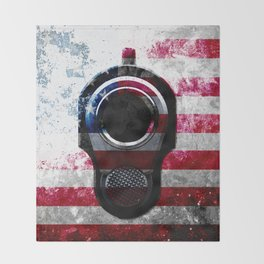 M1911 Colt 45 and American Flag on Distressed Metal Throw Blanket