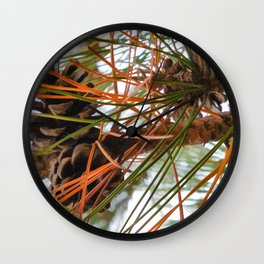 Pine Cone in Pine Tree Wall Clock