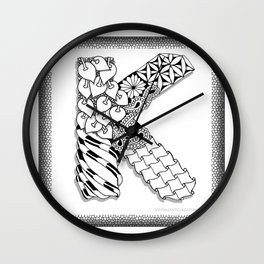 Zentangle K Monogram Alphabet initial Wall Clock