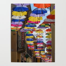Colorful umbrella street in Italy Poster