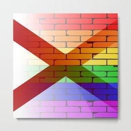 Gay Rainbow Wall Alabama Flag Metal Print