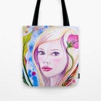 blondie Tote Bags featuring Blondie by Yvonne Póo