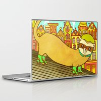 ferret Laptop & iPad Skins featuring Ferret on Rollerskates by My Zoetrope