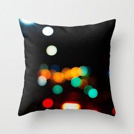Blurred City Lights Throw Pillow