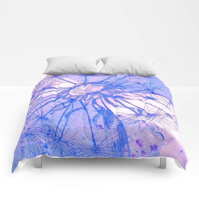 Blue Collage Dandelion Comforters