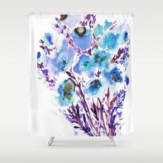 Bouquet Blue Shower Curtain