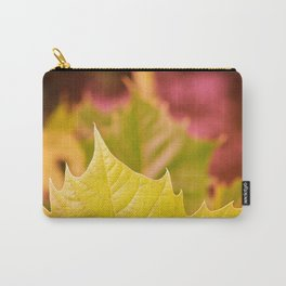 Golden Olive Sycamore Leaf Carry-All Pouch