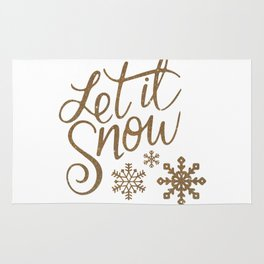 Let It Snow Gold Glitter Typography Winter Rug