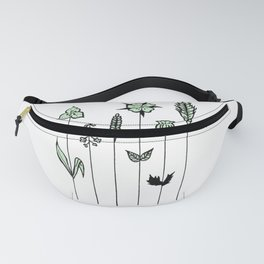 Wildflower Stems Design — Green Wildflowers Illustration Fanny Pack