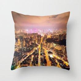 Night street in Hong Kong Throw Pillow