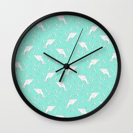 Teal Fish Party Pattern Wall Clock