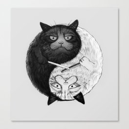 Grumpy Yin Yang Canvas Print