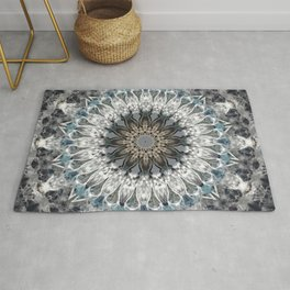Gray, blue Mandala Rug