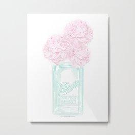 Pink Peonies in a Mason Jar Metal Print