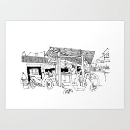 Thailand Mae Chan drawing Art Print