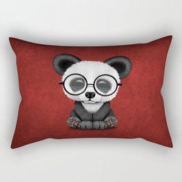 Cute Panda Bear Cub with Eye Glasses on Red Rectangular Pillow