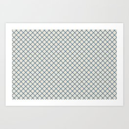 Linen White Scroll Grid Pattern on Calming Blue Pairs To 2020 Color of the Year Chinese Porcelain Art Print