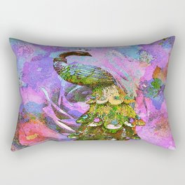 Peacock Watercolor Rectangular Pillow