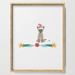 20% OFF ! Christmas Siamese Cat Santa Hat T Shirt Serving Tray
