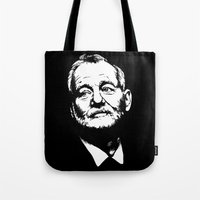 murray Tote Bags featuring Bill Murray by Laura Lindsey