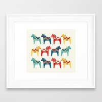 swedish Framed Art Prints featuring Swedish Horses by Running River Design