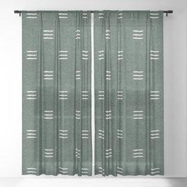 triple dash - green Sheer Curtain