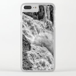 Black and White Beautiful Waterfall Clear iPhone Case