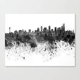 Seattle skyline in black watercolor on white background Canvas Print