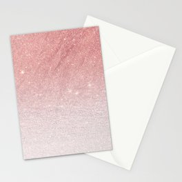 Elegant blush pink faux glitter ombre gradient pattern Stationery Cards