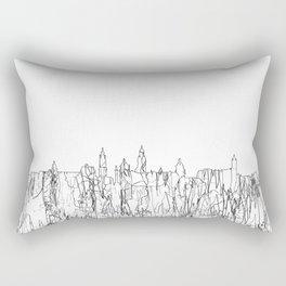 Glasgow, Scotland UK Skyline B&W - Thin Line Rectangular Pillow