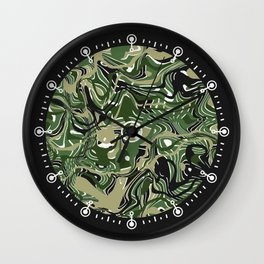 Camo-like liquid shapes Wall Clock