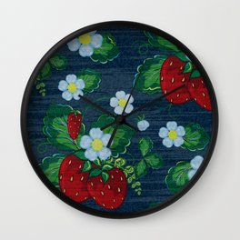 Strawberries and Daisies - Strawberry Patch  - Fruit Wall Clock