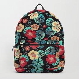 Watercolor Nasturtiums. Dark Floral Backpack