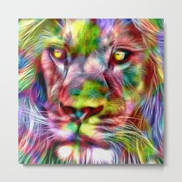 Lion in Color Metal Print